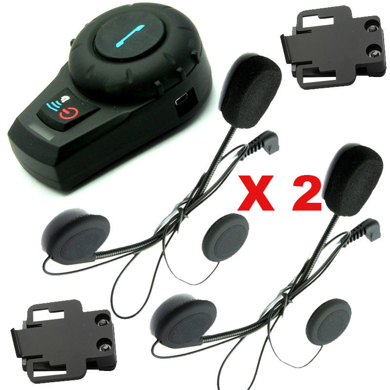 2pcsX 500M Motorcycle BT Bluetooth Multi Interphone Headset Helmet Intercom Handfree+Free Earpiece+Bracket 500m motorcycle helmet bluetooth headset wireless intercom