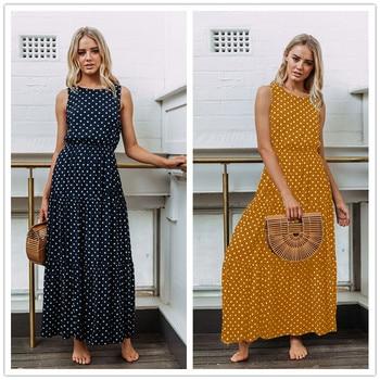 c56845a95ea 3XL плюс размеры для женщин богемные длинные платья Повседневное без  рукавов с круглым вырезом платье в