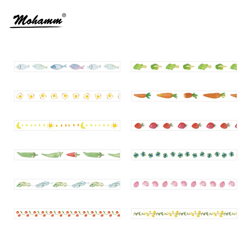 5mm x 7m Creative Foods Vegetables Washi Tape DIY Decoration Scrapbooking Planner Masking Tape Adhesive Tape Kawaii Stationery