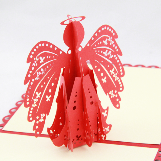 Angel greeting card /3D  kirigami pop up card/ gift cards christening invitation cardFree shipping music card spiral pop up musical notes 3d card music instruments pop up card bday pop up card