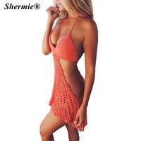 נשים חמות סקסי חם אדום העמודים לסרוג שמלת חוף ים בגד ים בגדי ים ללא משענת הלטר הסרוגה במסרגה לחפות