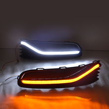 luckeasy drl  2014 to 2015 for Volkswagen POLO LED daytime driving lights fog lamp with yellow light vw polo