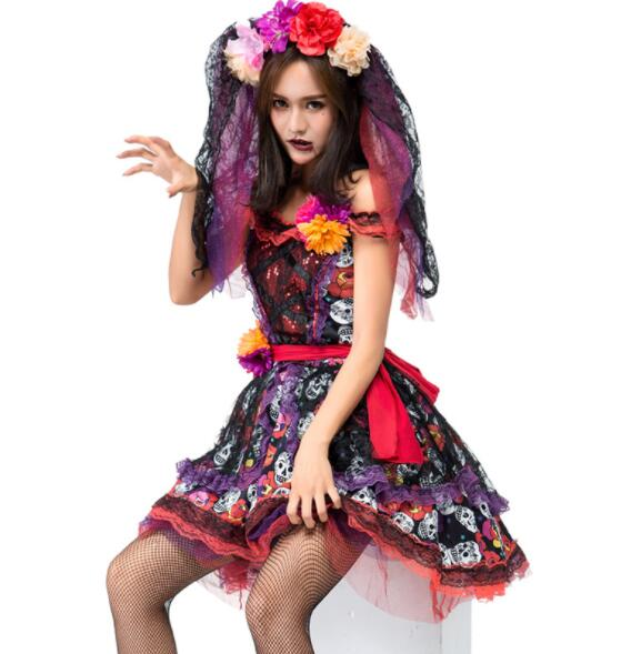 sexy flower Ghost Bride Costume Halloween Adult Women Scary Ghost Bride Cosplay Uniform Fantasia Fancy Dress short dresses A084