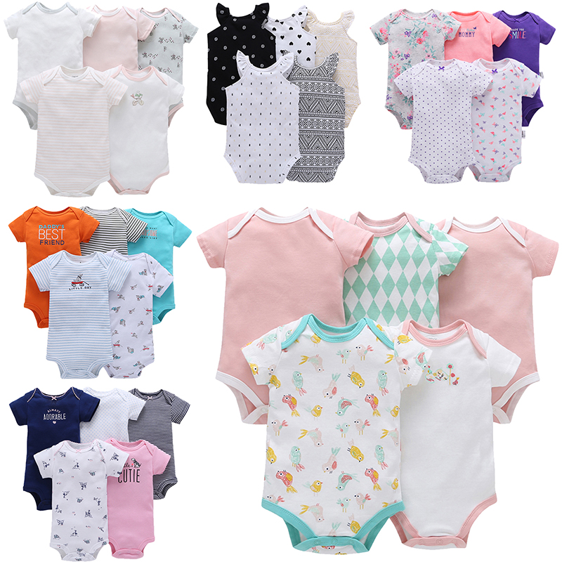 5pcs/lot Baby Jumpsuit Cotton Short Sleeve Bebes Girl Clothing Newborn Bodysuits Clothes Set Infant Boys Suit 6 -24 Months ...