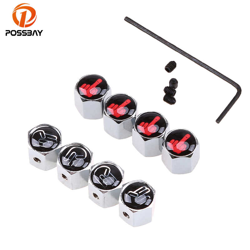 POSSBAY Metal Car Wheel Tire Valve Caps Funny Logo Badge Air Cap Black/Silver Auto Dust Proof Cover Anti-Theft/Normal Tyre Cap