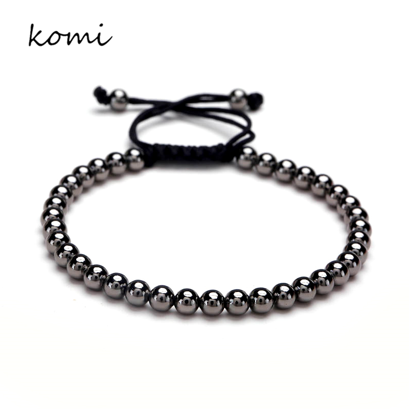 European Black Bead Bracelet Fashion Jewelry 2016 Men 6mm Round Beads Macrame Braided Bracelets For Women Four Color O-110