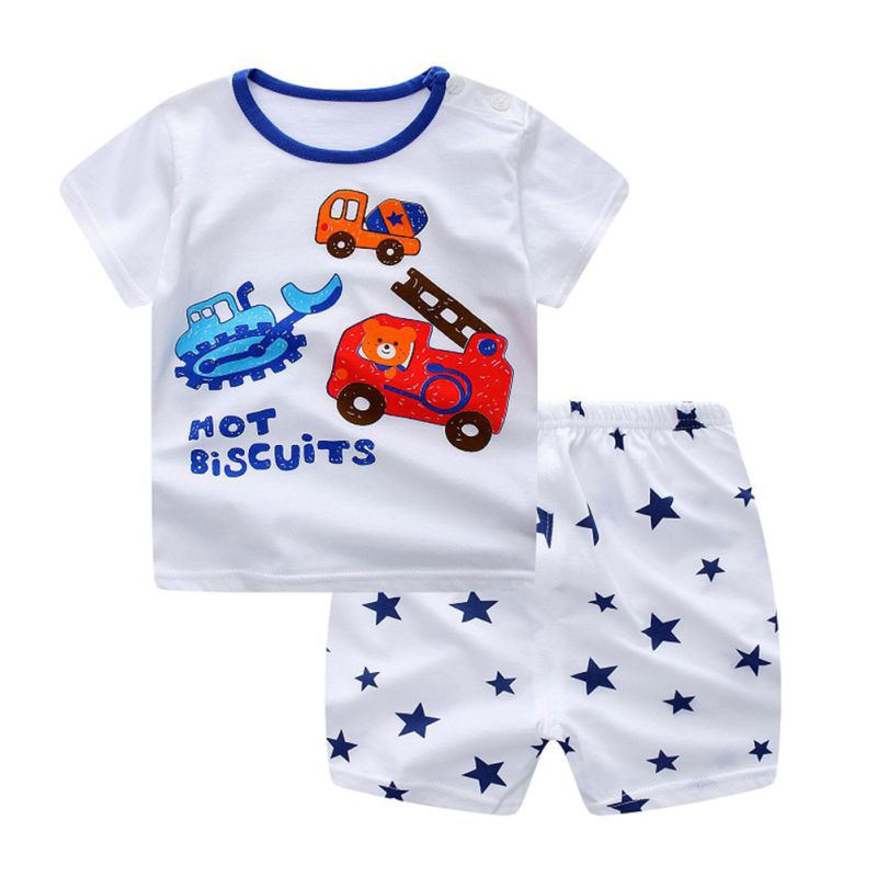 Warm Store Summer Children's Clothing Set Cartoon T-shirt + Shorts Baby Boy's Suit Set Short Sleeve Cotton For 4M-5T Kids 2pcs/set