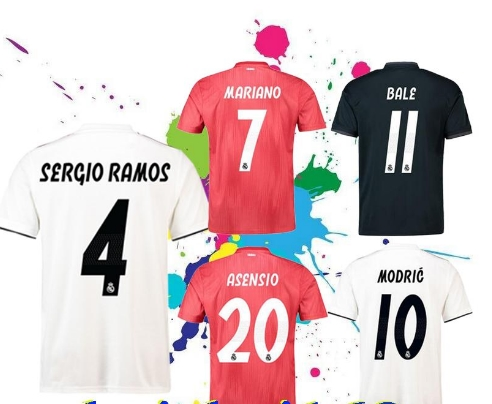 75d3ca86a44 New 2019 Real Madrid home Soccer Jersey 18 19 Real Madrid away blue Soccer shirt  2018 MODRIC ASENSIO ISCO KROOS BALE Football un