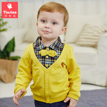 Фотография Tinsino Boys Spring Grid Turn-down Collar T-shirts Casual Plaid Sweatshirts Children Autumn Outerwear Tops Clothes Kids Clothing