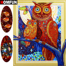 HOMFUN 5D Special Shape Diamond Painting Owl Embroidery Full Kit Sale Picture Of Rhinestone Diy gift 40x50cm