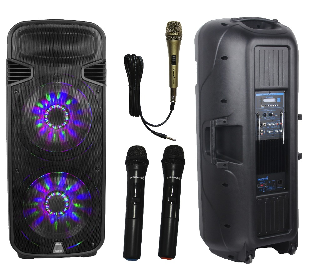 STARAUDIO Pro Dual 15 4500W PA DJ Stage Powered Active USB SD FM BT Speaker W/Light 2 Wireless Mics 1 Wired Mic SDM-15RGB