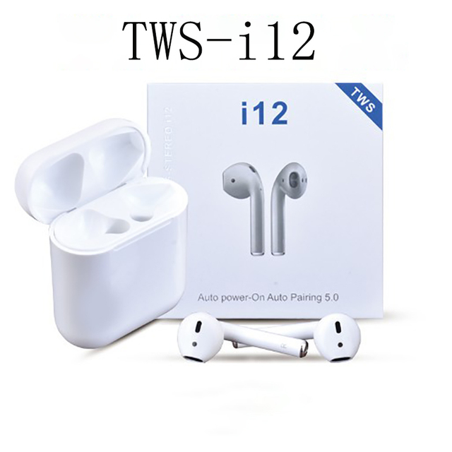 TWS i12 smart Bluetooth 5.0 earphones earbuds earplugs binaural stereo noise reduction  touch control siri voice charging box