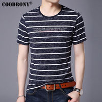 COODRONY Short Sleeve T Shirt Men Brand Clothing 2017 Spring Summer New Casual Striped T Shirt