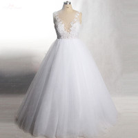 RSW447 Backless Sleeveless Sheer Top Floor Length Plus Size White Gown