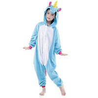 Cosplay Children Unisex Blue Unicorn Animal Kigurumi Kids Onesie Pajamas Costume