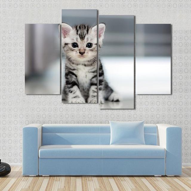 4 stuk/set canvas art leuke amerikaanse korthaar kat kitten hd