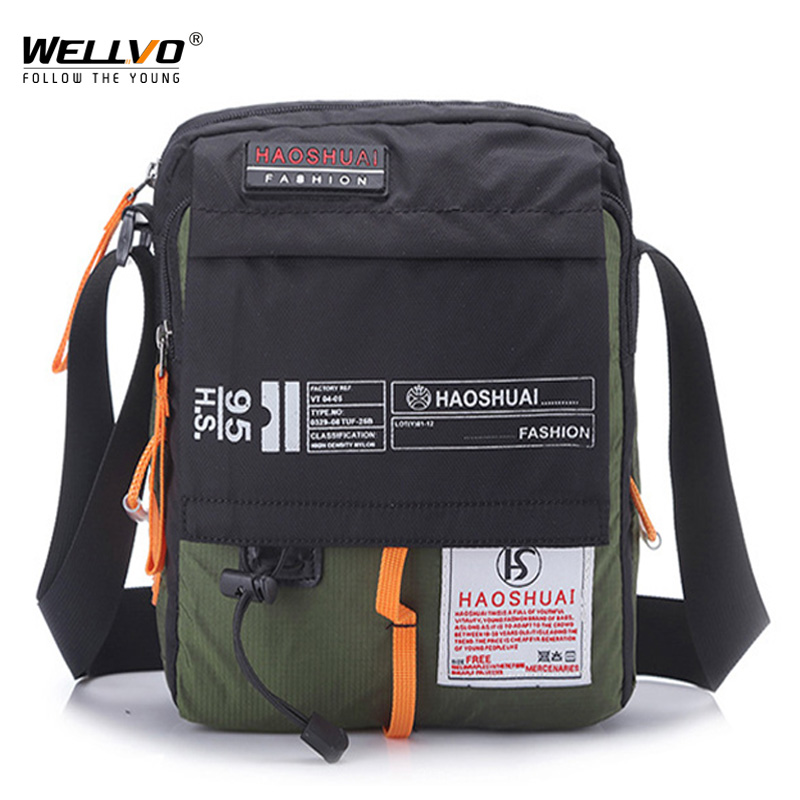 Men Nylon Messenger Bag Shoulder Crossbody Bags Multifunction Fashion Casual Hiking Bicycle Travel Satchel School Handbag XA80ZC
