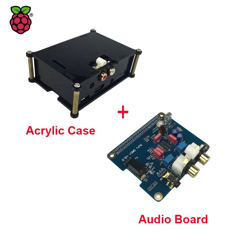 Prix pour Raspberry Pi 3 HIFI Analogique DAC Audio Conseil Module I2S Interface + Noir Acrylique Cas compatible pour Raspberry Pi 2