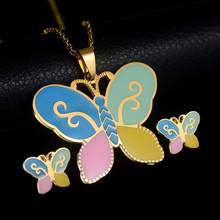 Kids Girl Colorful Enamel Butterfly Necklace Ear Studs Jewelry Set Birthday Gift 2019(China)