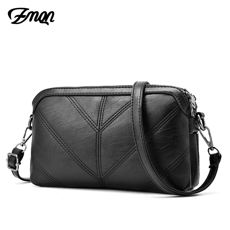 ZMQN Fashion Black Women Messenger Bags Small Flap Crossbody Hand Clutch Bags 2 Layer Zipper Bag PU Leather High Quality A548 цена 2017