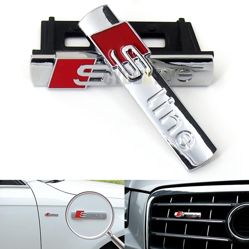 1PCS 3D Metal S Line Car Front Grille Adhesive Emblem Badge Stickers Accessories Styling For Audi A1 A3 A4 A5 A6 A7 Q3 Q5 Q7 TT 1pcs 3d metal s5 car front grille adhesive emblem badge stickers accessories styling for audi a5 s5
