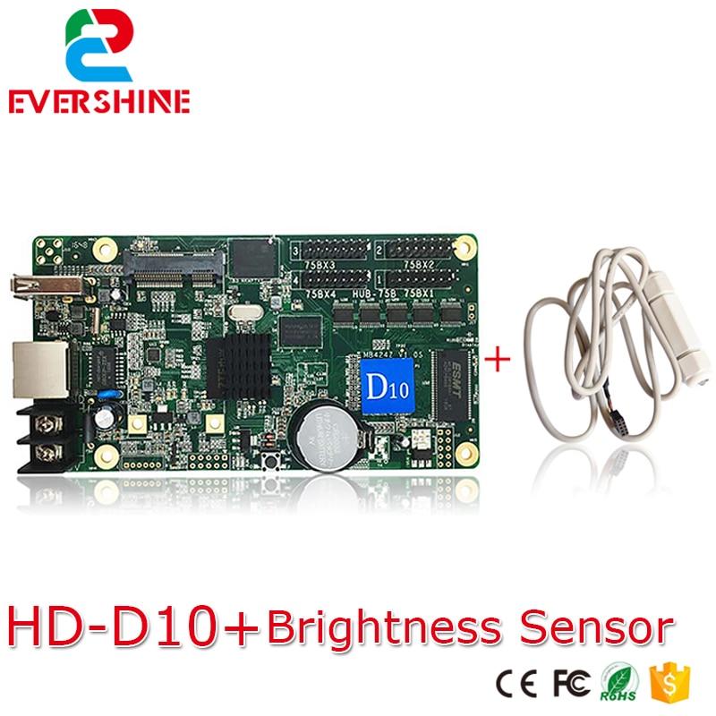 D10 HD-D10 RGB LED Video Display Controller Asynchronous control card 4xHUB75 Port USB-disk+Ethernet with Brightness sensor bx 5q2 u75 usb asynchronous full color led control card with 5 hub75 port p8 p10 p4 p5 p6 p3 rgb led lintel display controller