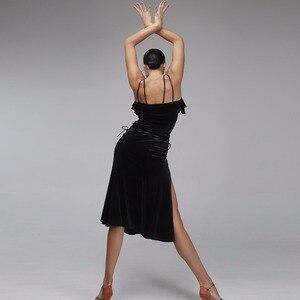 Image 3 - ชุดเต้นรำละตินผู้หญิงละตินสไตล์ samba เครื่องแต่งกาย Salsa ชุด Latin ปฏิบัติสวมใส่ชุดเต้นรำสีดำกำมะหยี่เต้นรำสวมใส่