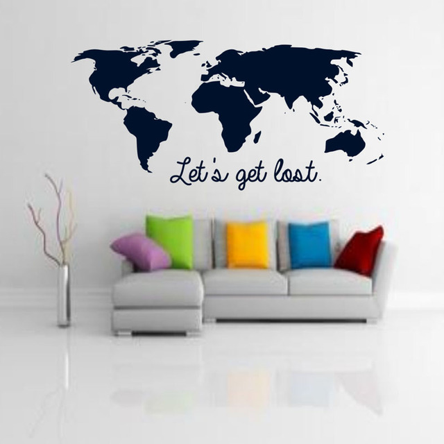 let's get lost wall stickers quotes home decor world map wall decals