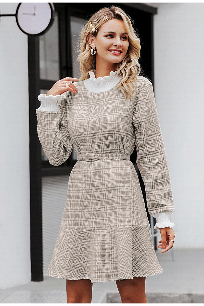 Simplee Elegant plaid dress women Turtle neck knitted short dress female Ruffle sashes vintage autumn office ladies vestidos 7