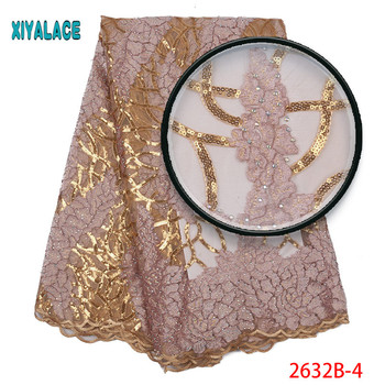 Latest tulle lace fabric high quaity gold sequins embroidery lace trim african lace fabric for african french lace fabric 2632b