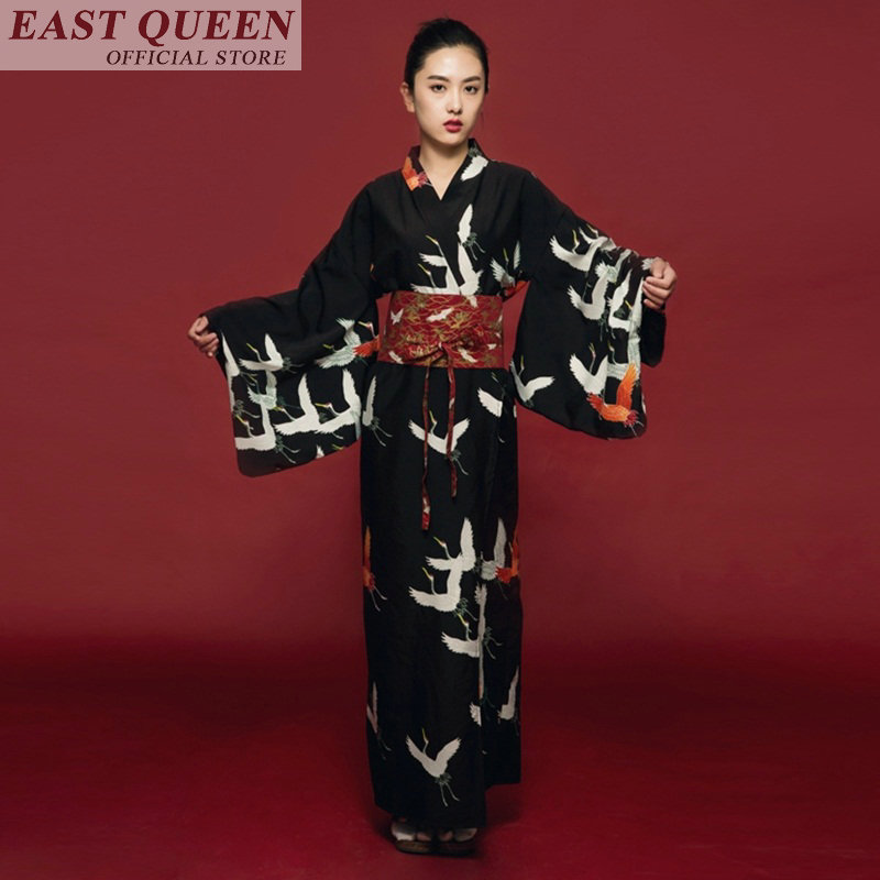 Japanese Kimono Traditional Japanese Kimono Black Yukata New Feeling Clothes Obi Japanese Geisha Costume Haori FF607 A