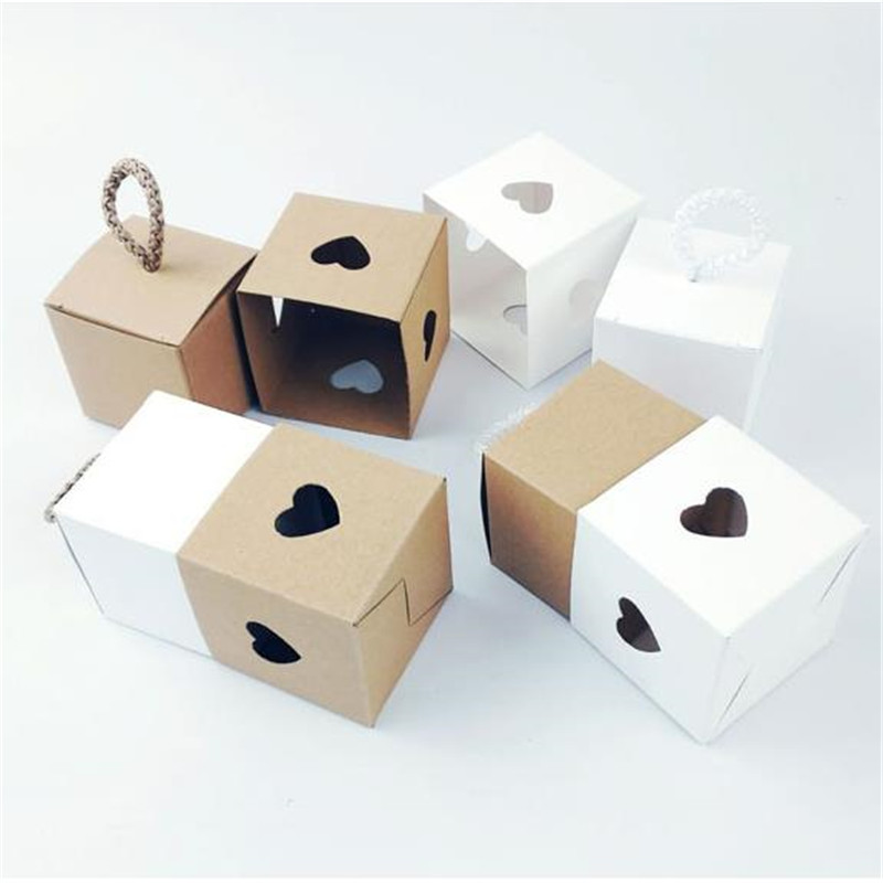 Heart shaped small kraft Paper Box White And Brown Cardboard Gift Box Inside And Outside Kraft Paper Packaging Candy Box in Gift Bags Wrapping Supplies from Home Garden