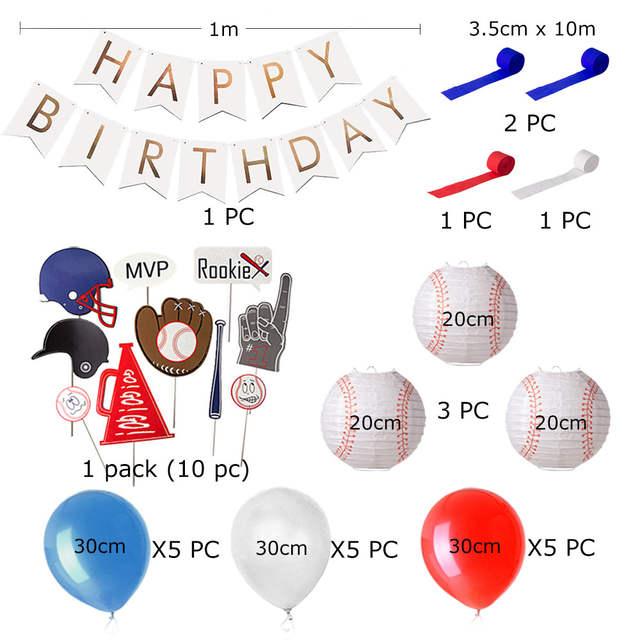 Baseball Themed Birthday Party Decor Red Navy White Balloons Lanterns Baseball Photo Props Sports Mvp Rookie Boy Party Supplies