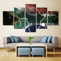 Frameless High Quality 5 Pieces Modular Pictures Print On Canvas Oil Painting National Flags Best Wall