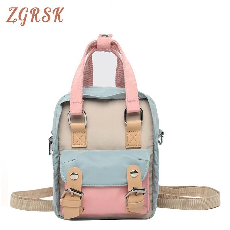 Woman Mini- Back Pack Bag Female Casual Nylon Backpacks For Teenagers Girls Designers Panelled Bagpack Small Backpack