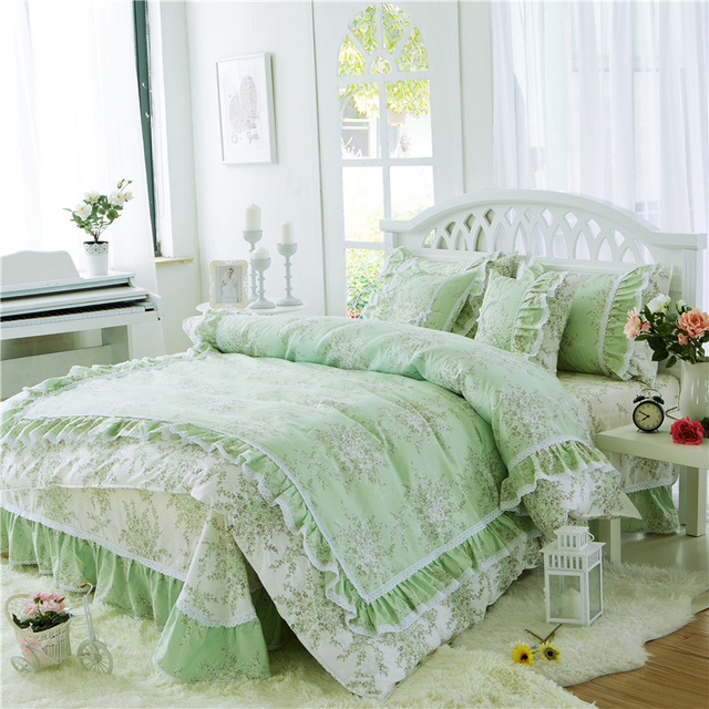 Minimalist Pastoral Princess green Bedding Set Luxury 3 4pcs Printing Ruffles lace Cotton Queen Duvet Cover - Unique luxury king bedding Lovely