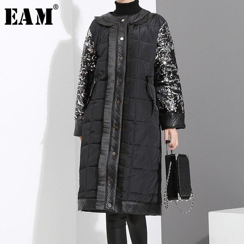 [EAM]2019 New Spring Round Neck Long Sleeve Black Sequins Split Joint Loose Cotton-padded Coat Women   Parkas   Fashion JK281