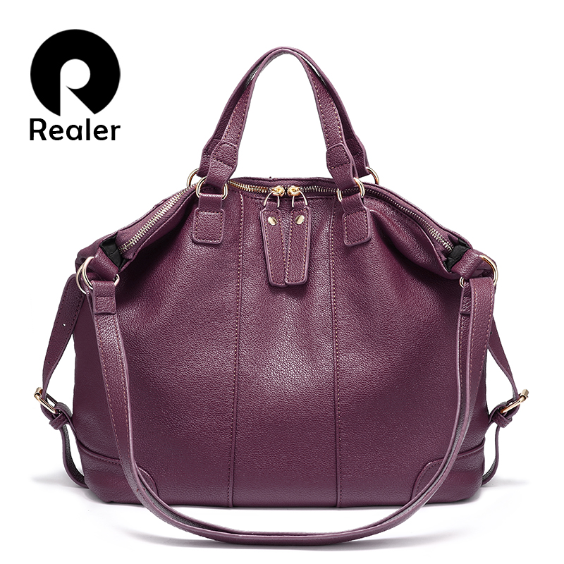 REALER women shoulder bag artificial PU leather ladies large handbags female fashion totes bag multi functional
