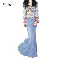 Idopy Women`s Denim Skirt Vintage Classic Style Elegant Femme Fishtail Floor Split Maxi Mermaid Jean Skirt Saias Slim Fit
