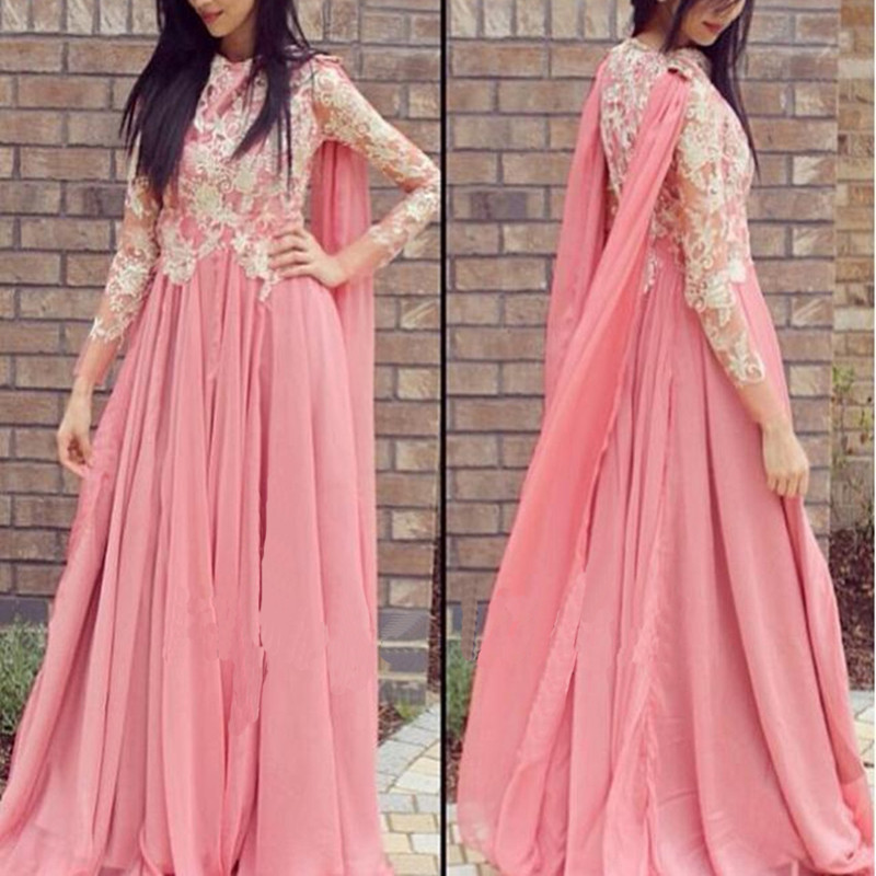 Dubai evening party Dresses Pink Long Chiffon Illusion Sleeves Appliques Beaded evening dress long Kaftan robe de soiree
