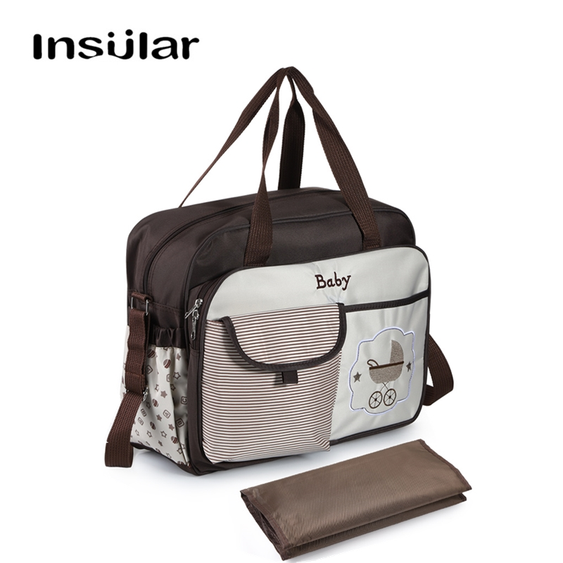 INSULAR Cute Large Capacity Diaper Bag Messenger/ Totes Maternity Nappy Bags for Baby Mummy Dad with Diaper Changing MatINSULAR Cute Large Capacity Diaper Bag Messenger/ Totes Maternity Nappy Bags for Baby Mummy Dad with Diaper Changing Mat