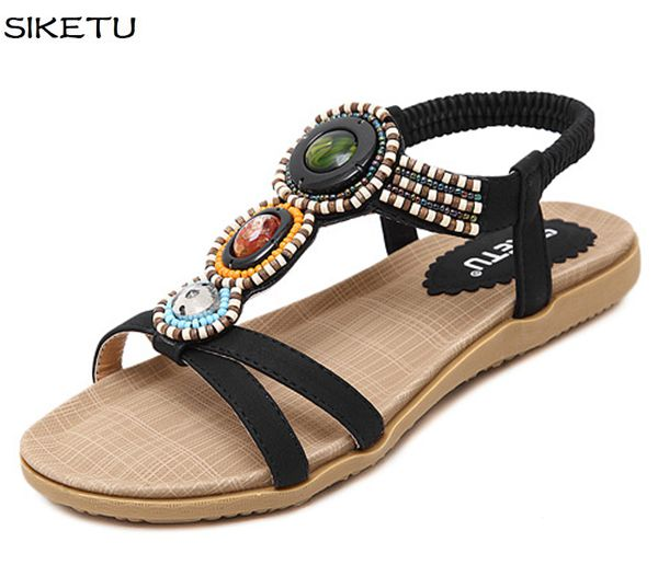 European export style fashion women JF047 summer flats sandals shoes black khaki diamond beaded bohemia beach sandals