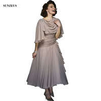 Pleated Chiffon Mother Of The Bride Dresses With Wrap A line Ankle Length Elegant Groom Mother Wedding Party Gowns CM0119