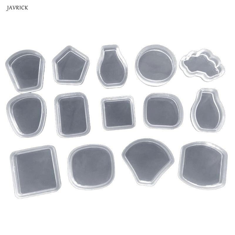 14 Pcs/set Mirror Crystal Epoxy DIY Geometric Triangle Square Jewelry Decorative Handmade Pendant Silicone Mold