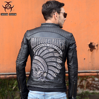 Free Shipping New Brand Clothing Black Men India Skull Leather Jackets Men S Genuine Leather Biker
