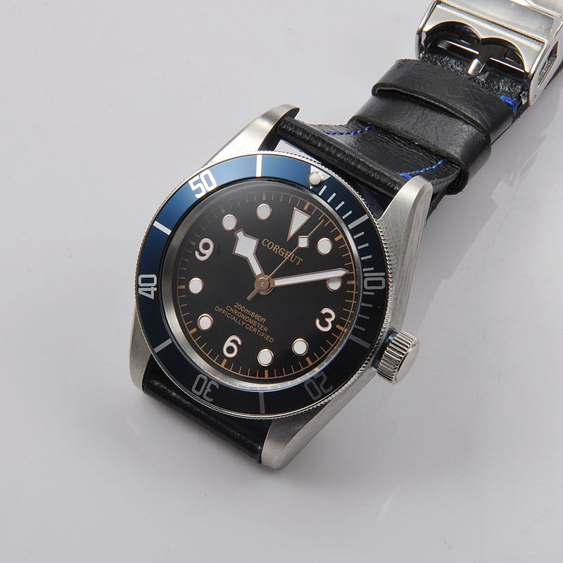 Corgeut 41mm sapphire glass Rosegold luminous Marks Black Dial Blue Bezel leather miyota Automatic mens water resistant Watches 41 mm corgeut sterial black dial red bezel sapphire glass luminous wrist watch japan miyota automatic mens water resistant watch