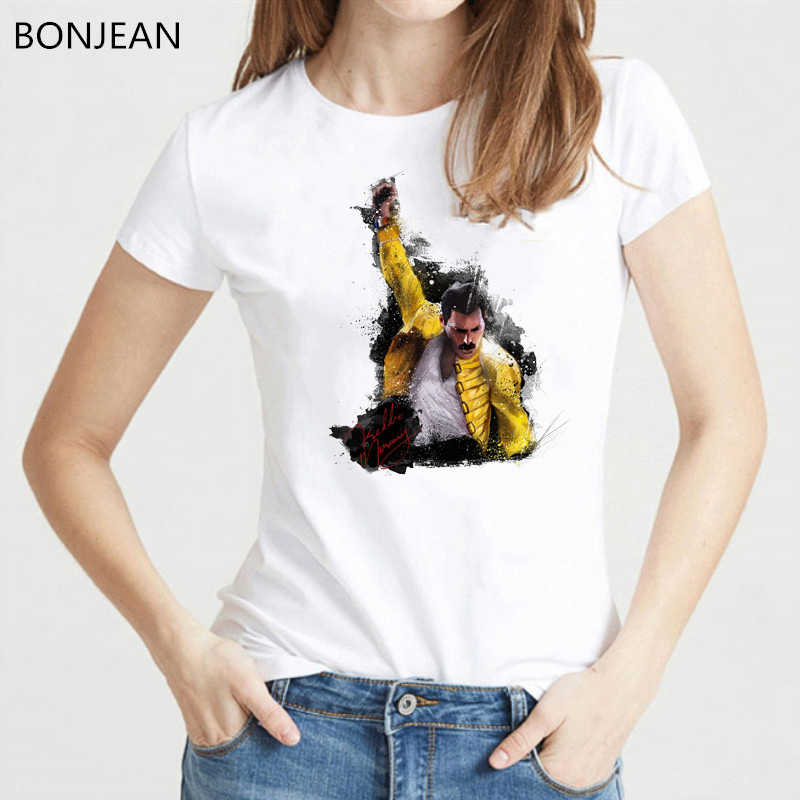 Freddie Mercury De Koningin Band T-shirt Vrouwen Hip Hop Retro Rock Hipster t-shirt femme Vintage Vrouwelijke t-shirt tumblr tops tee