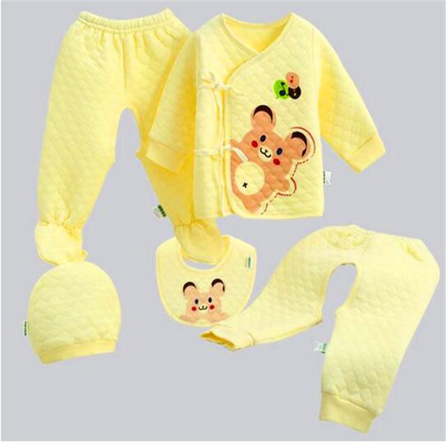 Caixa de presente Do Bebê terno quente Neonatal 5 Peças/lote LMY131 do presente do bebê do Algodão roupa interior térmica