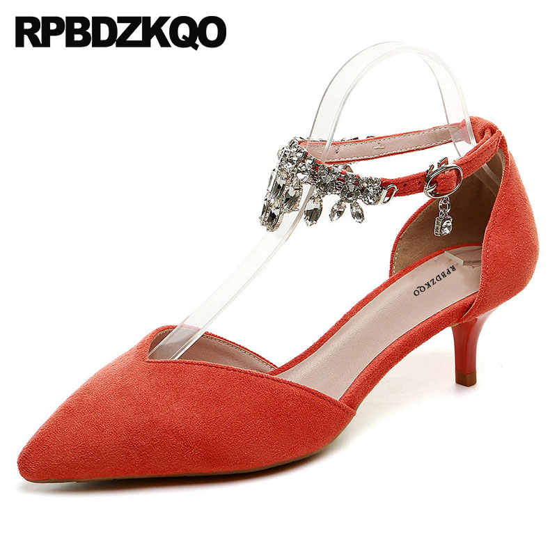 Kitten Women Orange Pointed Toe Pumps Low Heels Crystal Bridal Shoes 3 Inch  Ankle Strap Suede 1113e1203b36