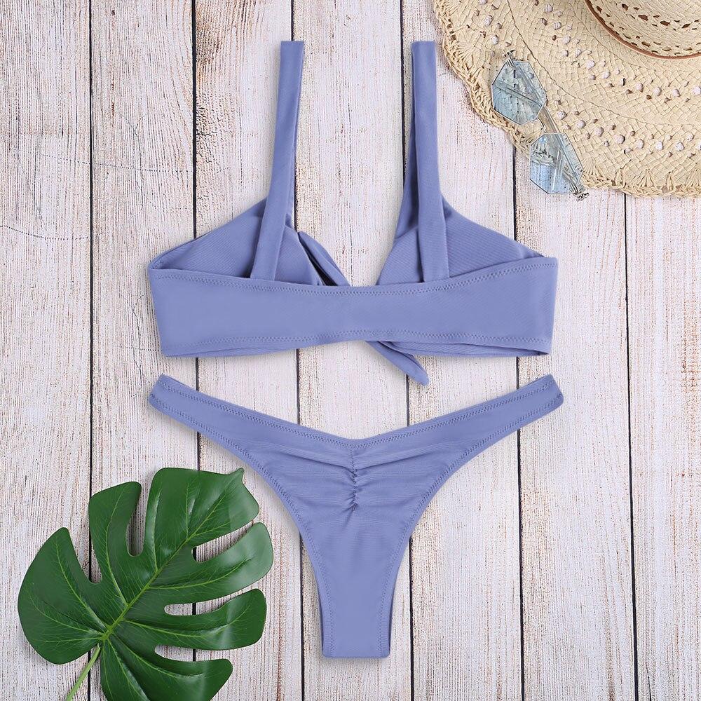 HTB1VUgwXOnrK1Rjy1Xcq6yeDVXau Women Sexy Bikini Set Swimwear Knotted Padded Thong Swimsuit Wire Free Scoop Neck Bathing Suit Swimming Suit 7 Colors